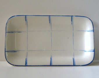 Vintage Ceramic Oblong DISH Made in JAPAN The Hinode White with Blue & Gold Trim