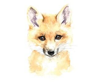 Baby Fox Watercolor Print