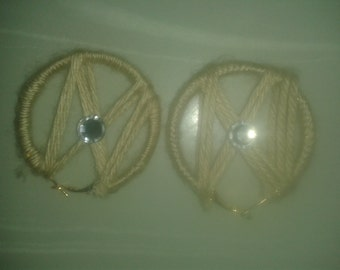 Cream Yarn Earrings