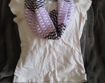 White, Lilac & Violet Purple Knit Womens' Infinity Scarf