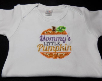 """Handmade """"Mommy's Little Pumpkin"""" Embroidered with Applique on a Bodysuit - Novelty - Girl"""