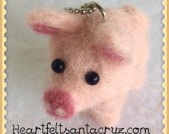 Backpack Charm, Keychain, Needle Felted Pig, Felted Pig, Handmade Animal, Zipper Pull