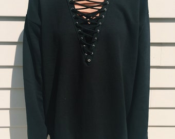 LF-Inspired Black Lace-Up Sweatshirt