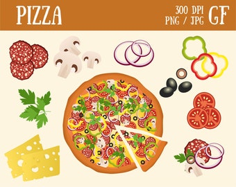 Pizza Clip art Italian Food Vegetables digital food clipart Ingredients pizza graphics