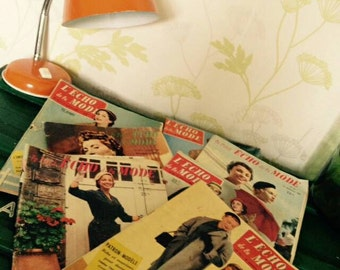 "Lot of 7 magazines ""L echoes of fashion"" years 1955-1956"
