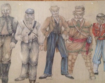 Original costume sketches for Shakespeare's Much Ado About Nothing