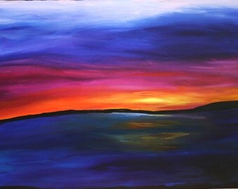 Original Acrylic Canvas Painting Vivid Sunset Landscape