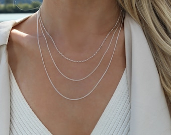 Silver layering chains / 925 Sterling silver necklace set / 3 necklaces / Delicate necklace / everyday necklace