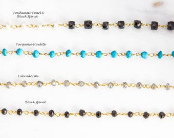 Gemstone Steling Silver Chain By Foot in Freshwater Pearl, Black Spinel, Labradorite and Turquoise Howlite, Gold Plated Rosary Chain,