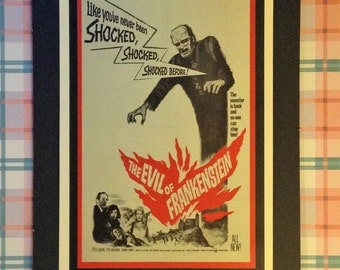 The Evil of Frankenstein Vintage Movie Poster 12'x18' Reproduction // Monsters // Horror