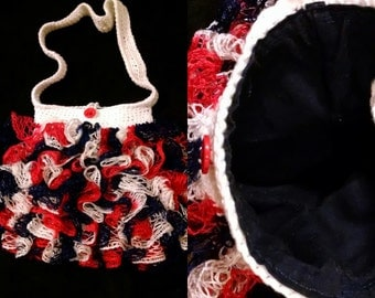 Red White and Blue Ruffle Bag