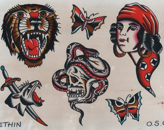Tattoo art print - tattoo flash print - traditional tattoo - sailor jerry art - tattoo - vintage tattoo - gifts for him - skull gifts