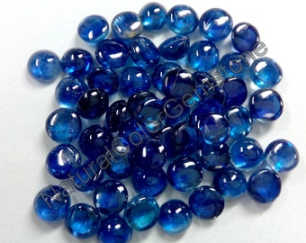 3mm And 4mm Cabochon Round Natural Kyanite A+++ Grade Natural Semi Precious Gemstone - Natural Kyanite Cabochon Round- Blue Color Gemstone