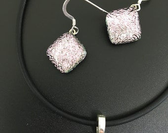 Dichroic Glass Pendant and Earring Set, fused dichroic glass
