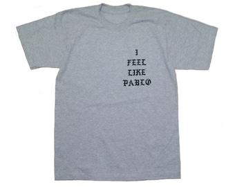 I Feel like Pablo Yeezy Kanye West T Shirt HEAVYWEIGHT COTTON H/Grey MEDIUM
