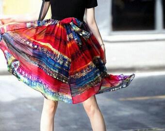 Short-Sleeve Silk Panel Dress