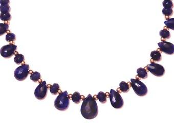Blue Sapphire Teardrop 14K Necklace