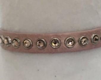 Italian Leather Cuff with Swarovski Crystals