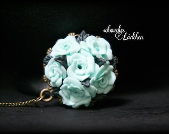SALE 50% OFF antique bronze necklace with turquoise roses
