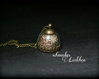 Antique bronze necklace glass dome Brown glitter dust