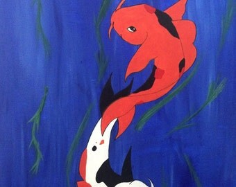 "Canvas Art Print, Koi Fish Painting, ""Forever Together"""