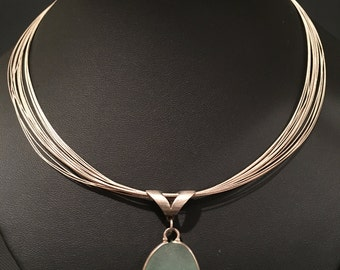 Multi-strand Sterling Silver Necklace with Chalcedony Stone Pendant