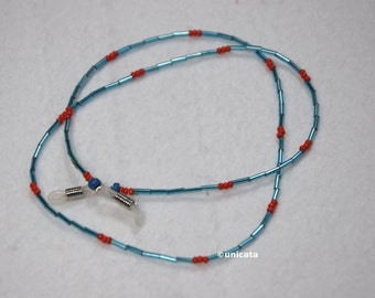 Necklace of blue Bugle beads and Red seed beads made of glass with colorless elastic loops