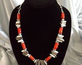 Orange and silver stone necklace