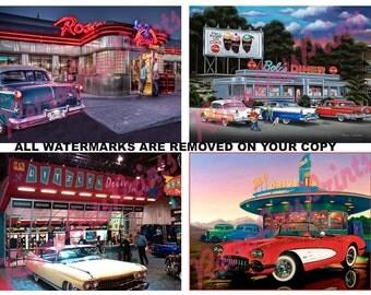 """Four Fridge Magnets Retro Vintage 50's Diners Each 5"""" X 4"""""""