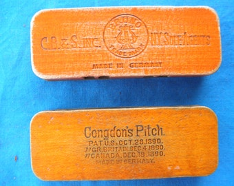 Two Vintage German Harmonicas Condons Pitch /  CB & S inc Wooden Harmonica Vintage Instrument