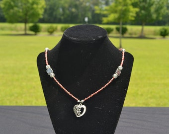 Red and White Heart Necklace