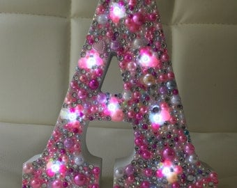 WOODEN LETTER LIGHT crystal and pearl battery powered light