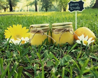 Lemon Sugar Scrub, Organic Scrub ,Spa Sugar Handcrafted ,