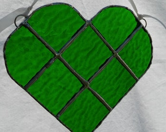 Green Stained Glass Heart #413