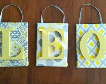 Nursery letters, nursery wall letters, Yellow and grey nursery letters, boy nursery letters, girl nursery, art, nursery decor, baby gift
