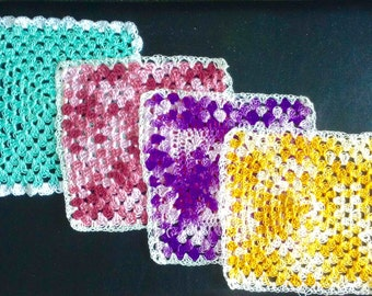 Delicate crocheted doilies