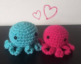 Cute Crochet Octopus Couple. Pink and Blue Octopus.