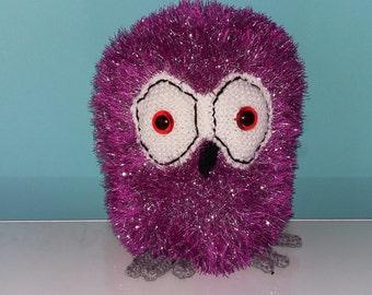 Handmade Knitted Purple Owl - Large