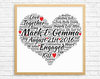 Personalized ENGAGEMENT GIFT - Word Art - Art Print - Printable Art - Unique Engagement gift For Couple - Engagement Card - Heart Design