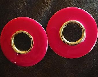 Circular Pink Retro Earrings