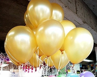 Hot Sale 100pcs 10 inch 1.5g Pearl Round Gold Latex Balloons Helium Balloon Wedding Birthday Party Decoration Kids Toys