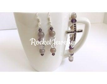 Purple Christian Bracelet and Earring Set