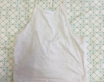 White Halter Crop Top