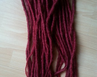Burgundy syntetic dreads. Double ended dreads.