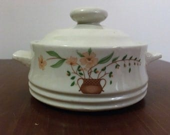 """Vintage 1980 Countryside Stoneware Collection """"Pink Dogwood"""" Mini Casserole Dish / Oven to Table Convenience / Retro Sugar Bowl"""