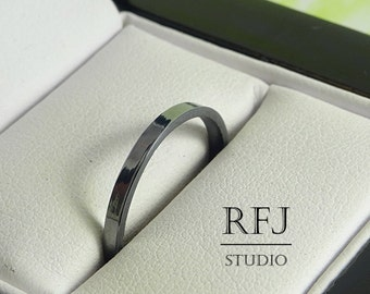 2 mm Oxidized Silver Band, Thin Classic Band, Black Ring, Stackable Tiny Band, 925 Silver Thin Blackened Ring, Simple Flat Ring, Black Band