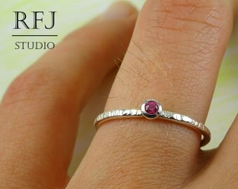 Textured Lab Ruby Sterling Ring, Pink Cubic Zirconia 2 mm Silver Tiny Texture Ring Simulate Pink Ruby Ring, 925 Silver Tiny Hammered Ring