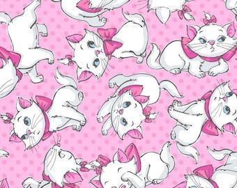 "Disney Fabric, Cartoon Cats Fabric - Disney The Aristocats Fabric Marie Faces Toss 100% cotton Fabric by the yard 36""x43"" (SC437)"