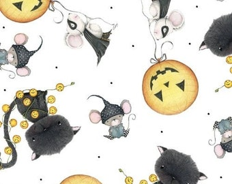 "Halloween Fabric: Stacey Yacula - Charmed Smiley Pumpkin Toss on white with Mouse and Cat 100% cotton Fabric by the yard 36""x44"" QT108"