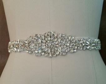 Wedding Belt, Bridal Sash Belt - Crystal Wedding Sash Belt= 17 inch long